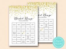 30 x PRINTED - Confetti Bridal Shower Bingo Cards BS46