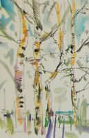JOSE TRUJILLO ORIGINAL Watercolor Painting SIGNED Abstract Birch Trees Landscape