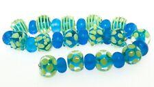 OliveStuart Handmade Lampwork Beads 29 dark aqua & pea green round
