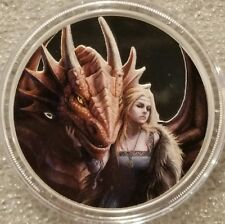 Anne Stokes collection 1 oz .999 silver colorized Dragons Friend or Foe fairy