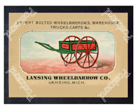 Historic Lansing Wheelbarrow, Michingan circa 1870 Advertising Postcard