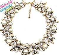ZARA BEAUTIFUL  WHITE PEARLS CLEAR STONES COLLAR STATEMENT NECKLACE – NEW