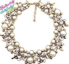 Collar Statement Necklace –New Wedding Zara Beautiful White Pearls Clear Stones