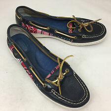"SPERRY Top-Sider ""Angelfish"" 2-Eye Navy Leather/Patchwork Madras Boat Shoes 11M"