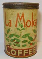 Vintage 1920s La Moka COFFEE TIN CHEF GRAPHIC TALL 1 POUND CAN GENEVA NEW YORK