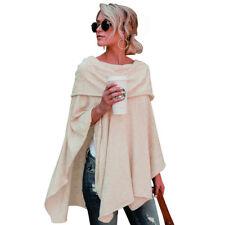 Women Warm Off Shoulder Irregular Sweater Cloak Poncho Pullover Top Shirt Blouse