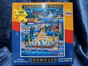 Through The Woods 500 Piece 16x20 Jigsaw Puzzle Dowdle Folk Art Winter NEW