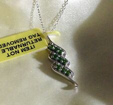 Russian, Chrome Diopside Cluster Pendant Platinum Over Sterling Silver, 18""