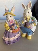 """2 8"""" Vintage Ceramic EASTER Bunnies Mr. & Mrs. Rabbit Figurine Mrs w/ egg basket"""
