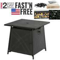 """28""""Outdoor Propane Fire Pit Patio Heater Gas Table Square + Fire Glass US Ship"""