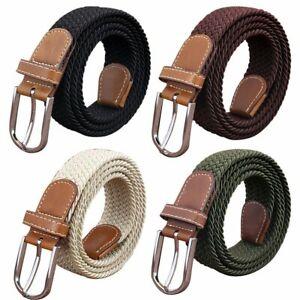 Men's Elastic Stretch Woven Waist Straps Waistband Braided Canvas Buckle Belt AU
