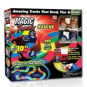 Magic Tracks RESCUE with 2 Race Cars and 10 feet of Glow in The Dark Racetracks!
