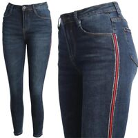 Damen Skinny Jeans Hose High Waist Streifen Glitzer Slim Fit Stretch