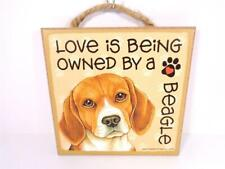 DOG LOVERS LOVE IS BEING OWNED BY A BEAGLE PET DOG ANIMAL DECORATIVE WALL SIGN