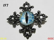 Steampunk pin badge brooch dragon's eye game of thrones blue ivory #97