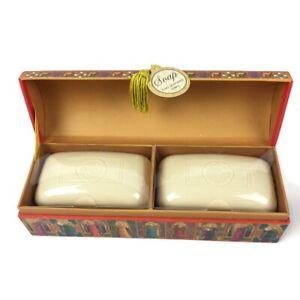 Punch Studio Triple Milled Luxury Lavender Soap 2 bar with Keepsake Box NEW