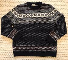LL Bean Vintage 100% Norwegian Wool Fair Isle Sweater Navy Large Men Crew Neck