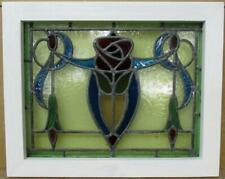 """Old English Leaded Stained Glass Window Stunning Colorful Rose 18"""" x 14.5"""""""