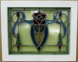 "OLD ENGLISH LEADED STAINED GLASS WINDOW Stunning Colorful Rose 18"" x 14.5"""