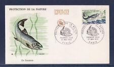 enveloppe 1er jour    nature faune poisson  saumon  Paris  1972