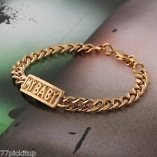 """18k Gold Plate Baby Chained Bracelets for Children 5.5"""" for Girls and Boys"""