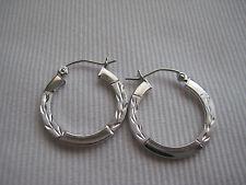 9ct white gold diamond cut medium hoop earrings NEW