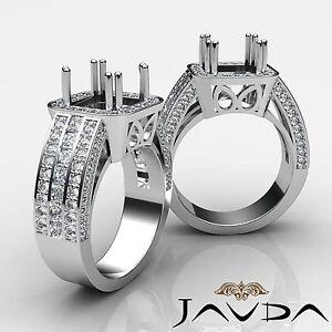 Pave Diamond Huge Anniversary Filigree Ring Princess Semi Mount Platinum 1.5Ct