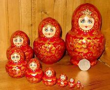 Russian nesting doll 10 BURGUNDY GOLD Babushka hand painted SIMAKOVA Matryoshka