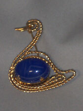 VINTAGE GOLD FILLED BLUE CALCEDONY SCARAB SWAN PIN