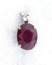 3.54 Carat Sterling Silver Pendant Oval Cut Ruby Natural Gem Stone Gemstone