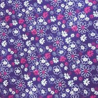 Cheap New Remnants Offcuts Fabric Polycotton Bundle LARGE BLUE FLOWER FLORAL