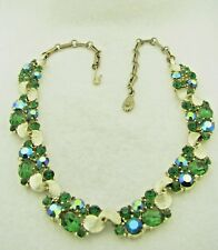 Vintage LISNER Signed Green Aurora Borealis Rhinestone Gold Tone Necklace