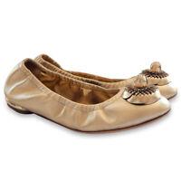 NEW $975 CHANEL Gold CC Logo Camelia Ballet Ballerina Flat Shoes- Gold - 37
