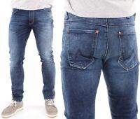 Wrangler Herren Jeans Hose Larston Stroke Hipster Blau W27 - W36