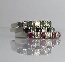 3 LA 925 STERLING SILVER Emerald Ruby Sapphire CZ Stackable RINGS • Size 8.5