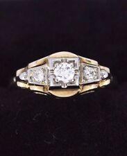 Estate Vintage 14K Yellow White Gold Round Diamond Engagement Ring Band