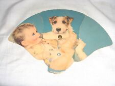 #1209 - VINTAGE/ANTIQUE ADVERTISING FUNERAL, CHURCH FOLDING FAN - DOG WITH BABY
