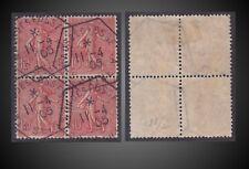 11 04 1905 FRANCE RARE Maur Des Fosse - Departement Seine SEMEUSE 10C BLOC DE 4