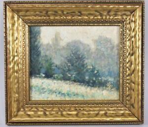 Original 19th Century Winter Woodland Scene On Board Unsigned Greens, Blues