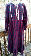Vintage Lord & Taylor Light Plaid Flannel Nightgown Size L-XL