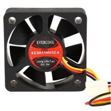 Evercool 50mm x 15mm 5 volt 3 pin Ball Bearing Fan + Screws EC5015M05CA 5VDC