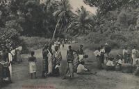 VINTAGE CEYLON SRI LANKA FRUIT SELLERS at GRAND PASS COLOMBO POSTCARD - UNUSED