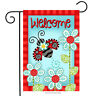 BRIARWOOD LANE Sleeved Garden Flag 12.5x18 LADYBUG WELCOME Flowers Floral NEW