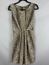 Mela Loves London Size 14 Leopard Print Chiffon Dress Slimming Gathered Waist