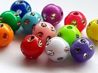 50 Round Acrylic DOT patterned BEADS Multi-colour - Jewellery Making 4/6/8/10mm