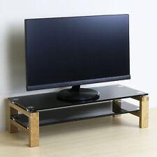 Two Tier Black Glass & Oak Screen Riser TV/Television Box Stand Games Console