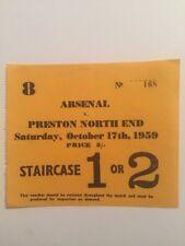 Ticket : Arsenal V. Preston North End 17/10/1959
