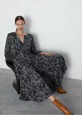 Zara Black White Floral Ditsy Floaty 'THE ANGEL DRESS' Long Midi Size M 10 12