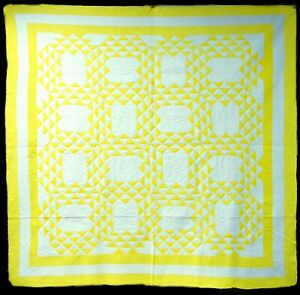 Vintage/Antique Cotton Hand Stitched Ocean Waves Yellow & White Quilt Unused