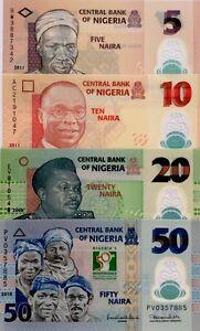 NIGERIA NEW 5 10 20 50 Naira GREAT UNCIRCULATED POLYMER BANKNOTES